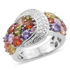 Simulated Multi Color Diamond Buckle Ring